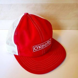 3/30$ 🍂 Vintage O'Keefe Patch Trucker Hat Snapback Mesh Red White